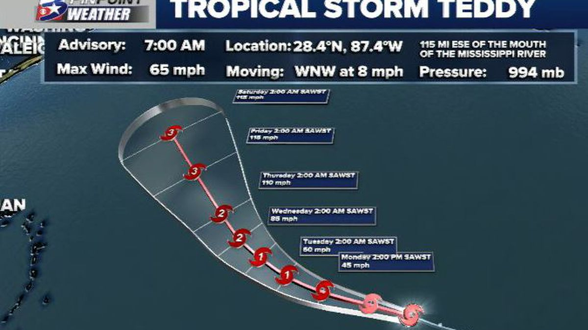 Tropical Storm Teddy has formed in the eastern Atlantic.