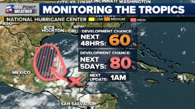 Odds have increased for tropical development in the southern Gulf