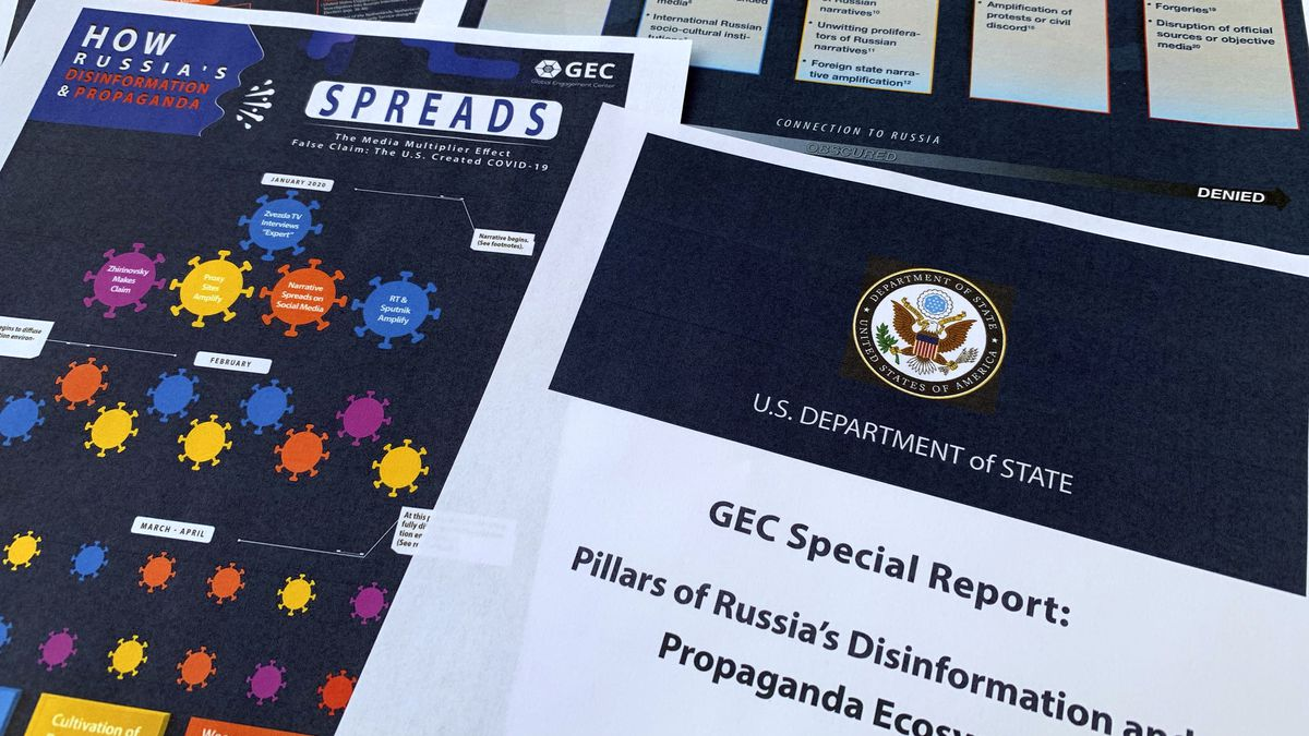 Pages from the U.S. State Department's Global Engagement Center report released on Aug. 5, 2020, are seen in this photo. The State Department says Russia is using a well-developed online operation that includes a loose collection of proxy websites to stir up confusion around the coronavirus by amplifying conspiracy theories and misinformation. The department detailed a Russian-backed misinformation cycle that spreads false information online through state officials and state-funded media reports, by infiltrating U.S. social media conversation, and leveraging a deceptive internet framework of websites.