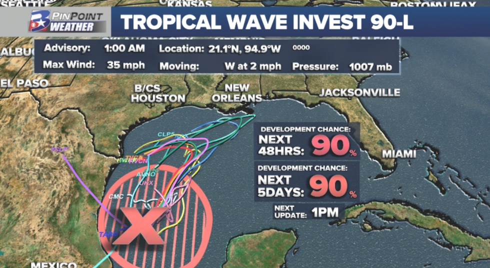 A disturbance i the Southwest Gulf of Mexico is expected to become a tropical depression or storm Thursday