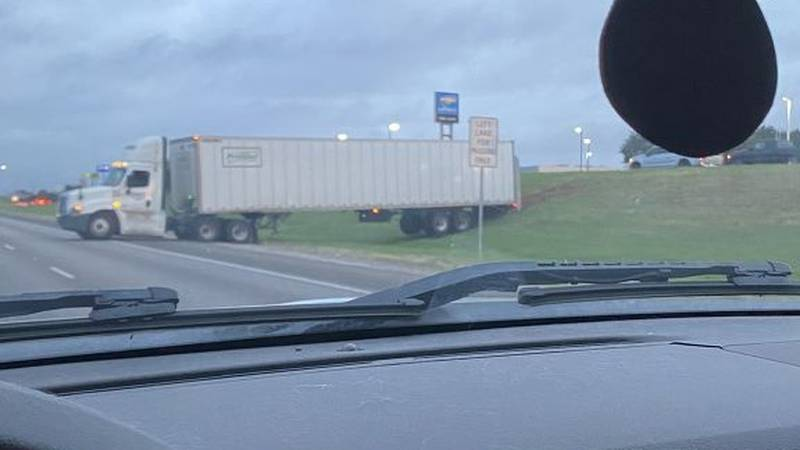 A viewer picture showing an 18-wheeler on the side of Highway 6 Wednesday morning