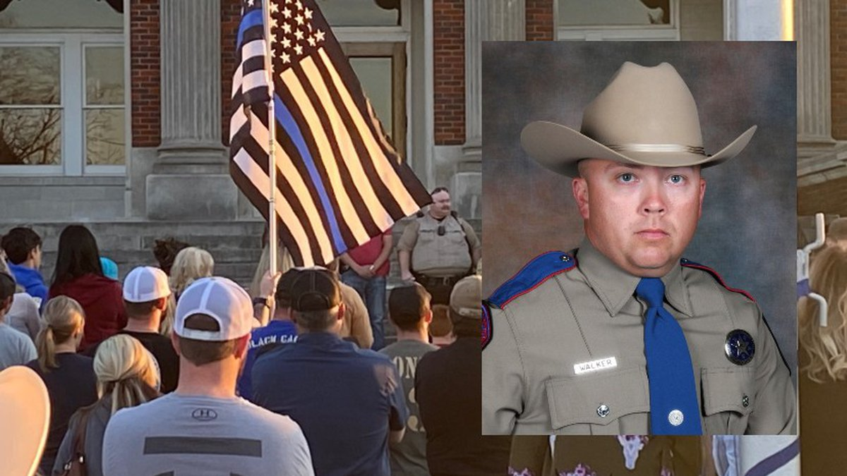 Residents in Groesbeck held a vigil for Texas State Trooper Chad Walker on Sunday evening.