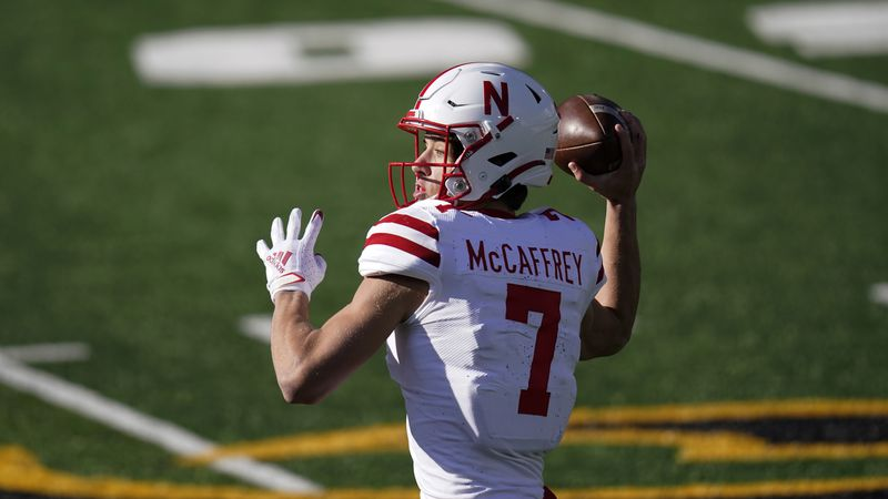 Former Nebraska quarterback Luke McCaffrey throws a pass during an NCAA college football game...