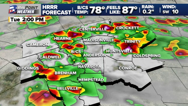 Scattered T-storms expected this afternoon and evening
