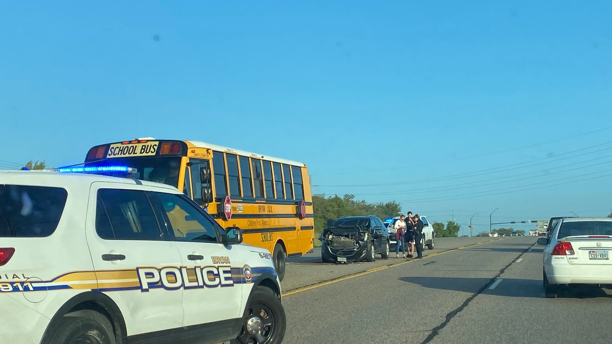 Bryan ISD bus rear ended near Leonard Road and 2818