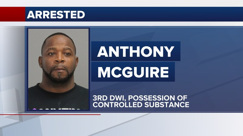 Anthony McGuire is accused of crashing his vehicle into a railroad crossing sign Saturday...