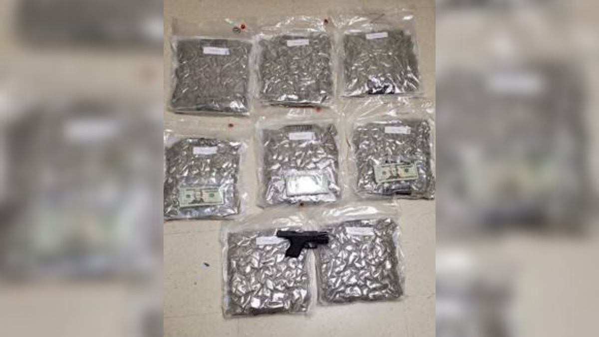 A deputy found nine pounds of marijuana, a gun and about $4,000 in the vehicle