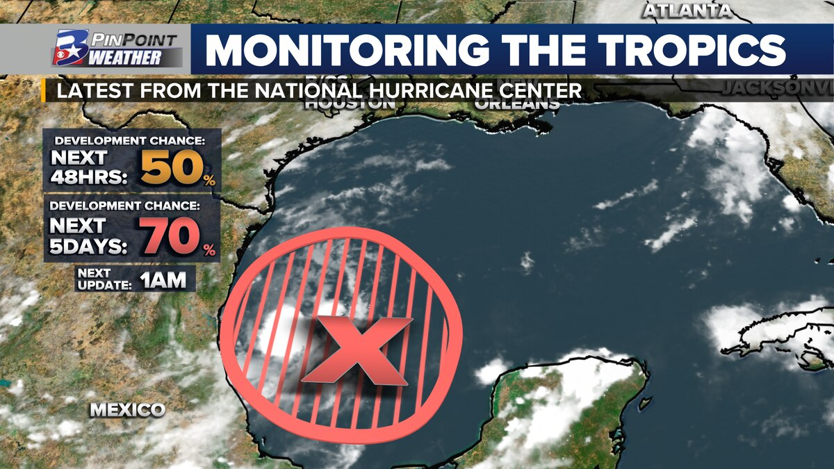 Invest 90L has a HIGH chance for tropical development over the next 5 days.