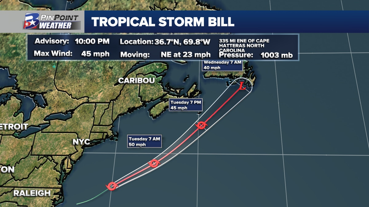 Tropical Storm Bill formed by 10pm Monday, June 14th