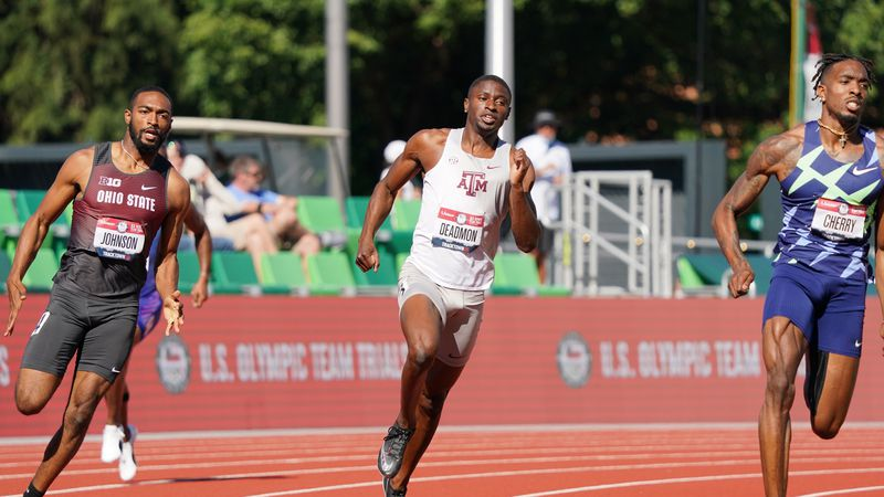 Aggie Bryce Deadmon qualifies for the semifinals in the 400m at the U.S. Olympic Track & Field...