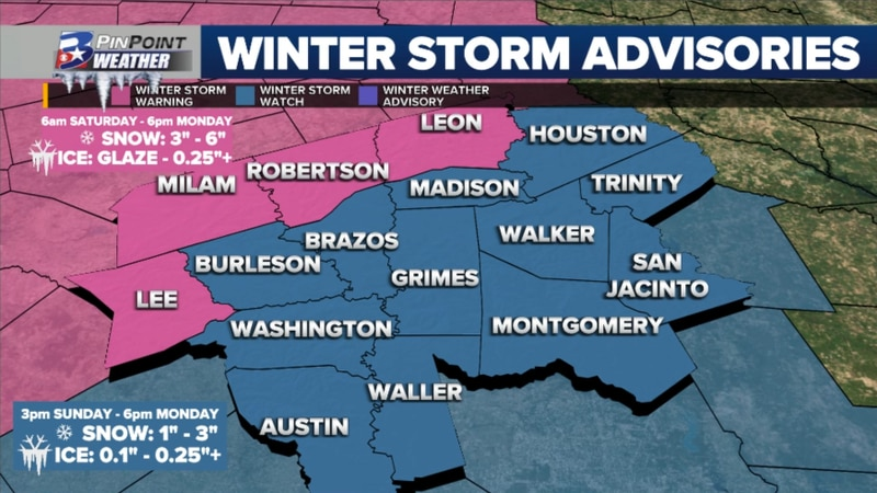 Winter Storm Watches and Warnings have been issued ahead of two weekend winter storms.
