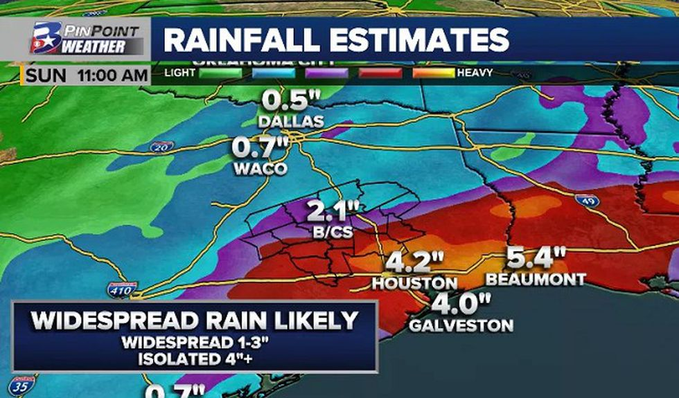 Raw model data favors our southern counties and areas closest to the coast for heaviest rain...