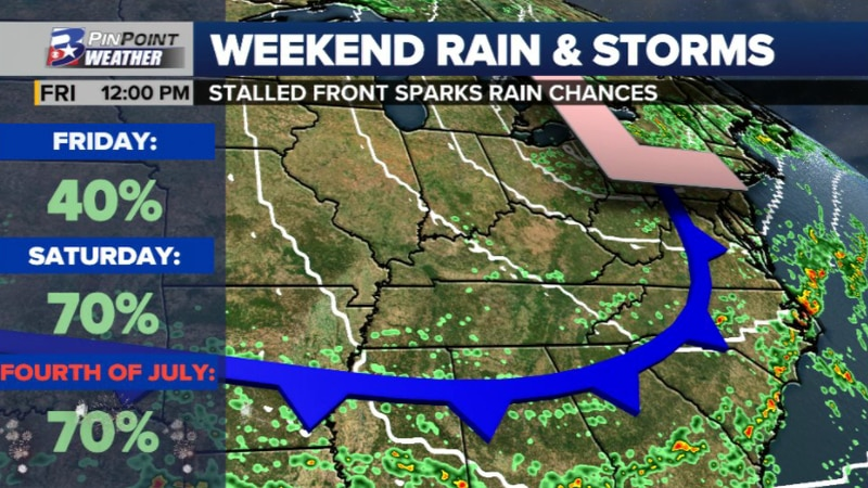 A front moving into Southeast Texas will spark rain and thunderstorm activity