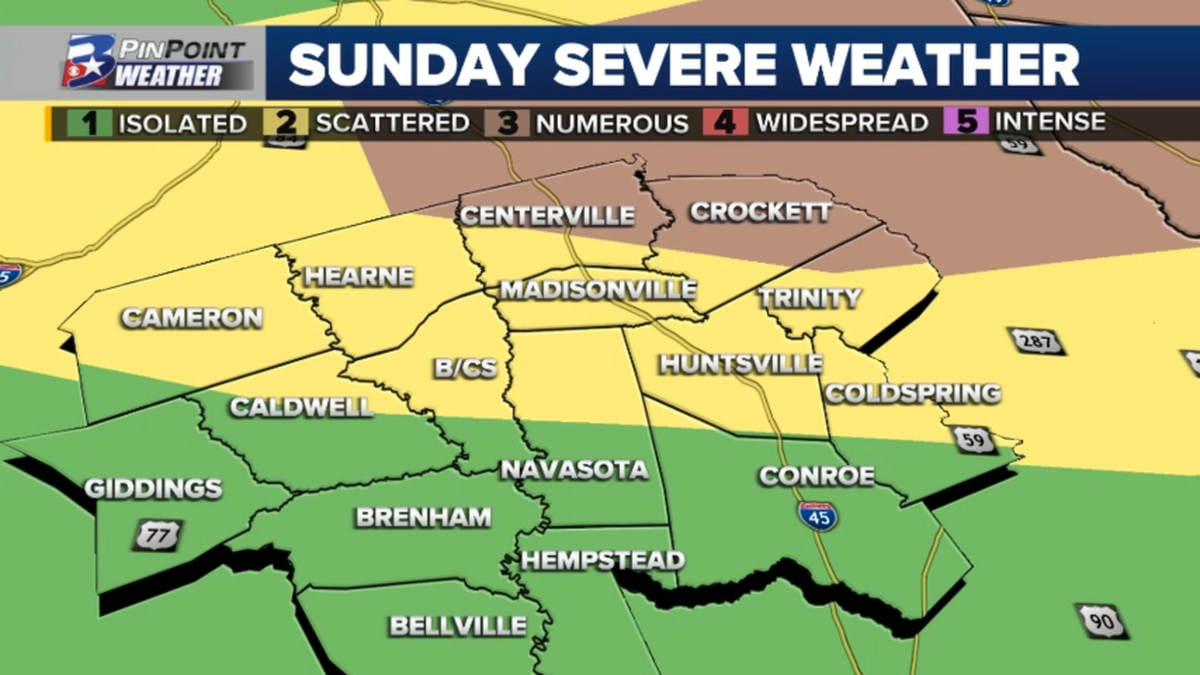 The Storm Prediction Center has outlined the Brazos Valley for possible severe weather Sunday...
