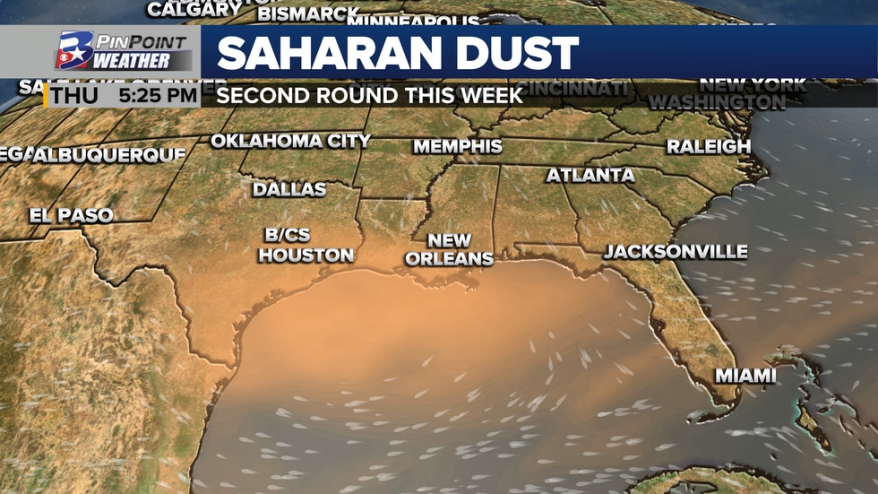 The second plume of Saharan dust returns to the Lone Star State Tuesday and lingers through Friday.