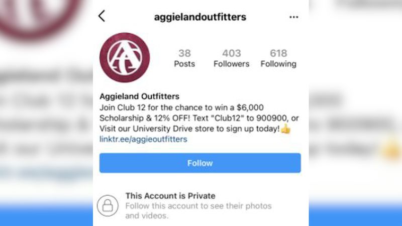 Aggieland Outfitters warning the community about fake Instagram.
