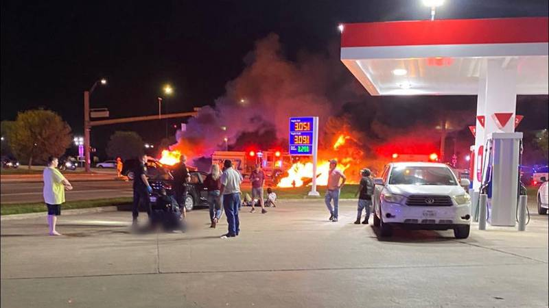 Bystanders rushed to help the victims involved in Saturday morning's fiery crash at Texas...