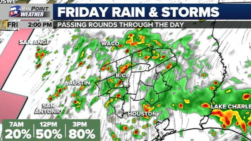 Additional rain and storms are possible for the last day of the work week.