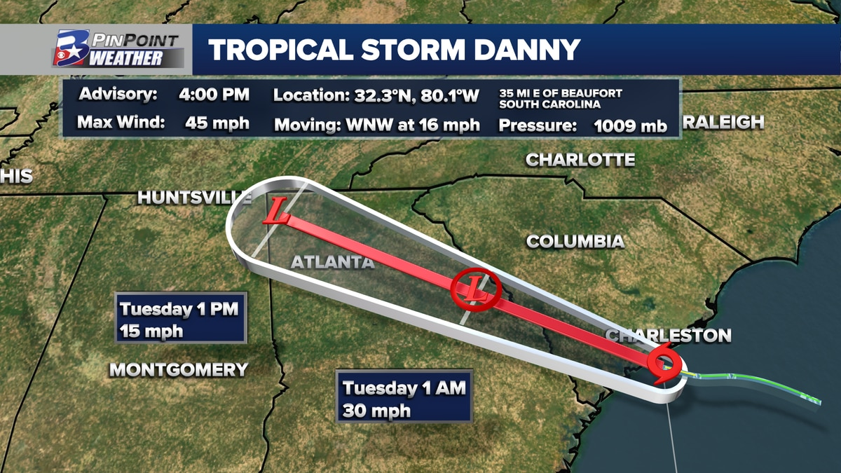 Tropical Storm Danny formed just ahead of landfall in South Carolina Monday afternoon