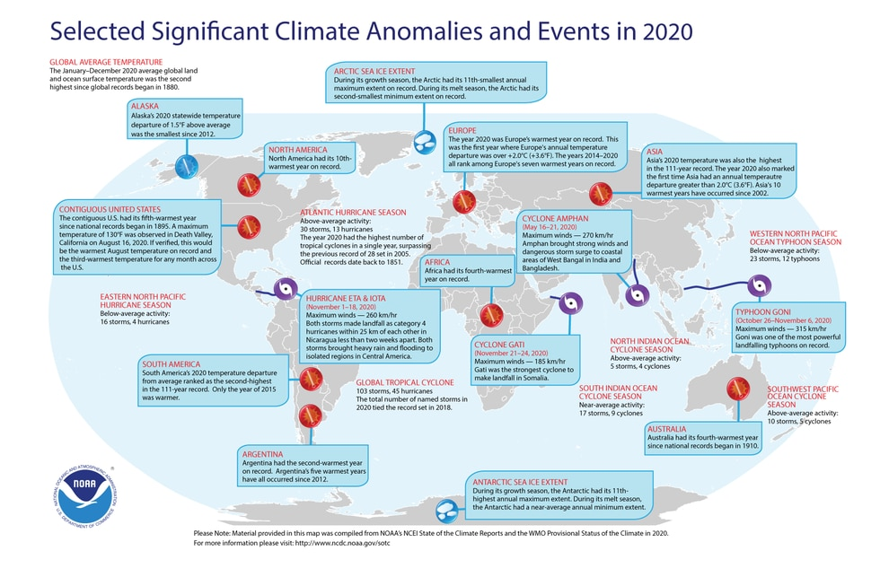 An annotated map of the world plotted with the year's most significant climate events. Please...