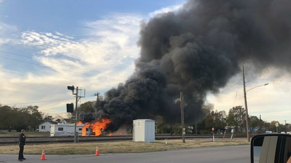 Fire engulfs an RV near downtown Bryan on Tuesday evening. Photos and videos courtesy Vanessa Banuelos