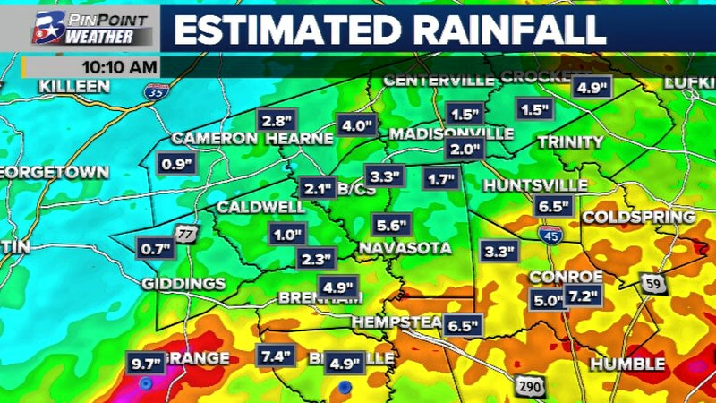 The southern 1/3 of the Brazos Valley has received the most rain over the past week.