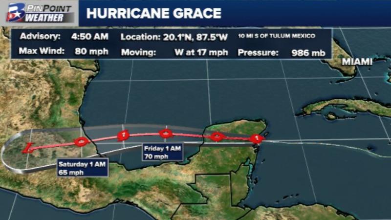 Hurricane Grace made landfall as a Category 1 storm near Tulum, Mexico Thursday morning.