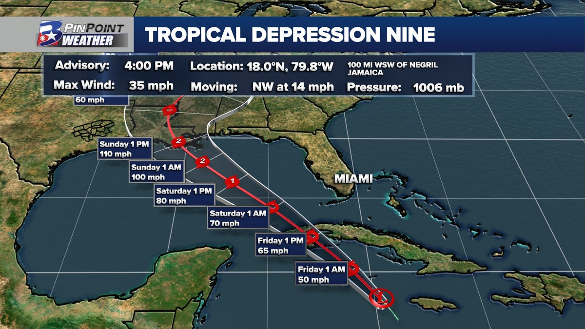 4pm Forecast from the National Hurricane Center for Tropical Depression Nine
