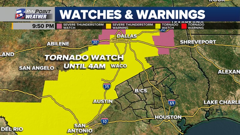 Strong to severe storms are expected to move close to or through the Northern Brazos Valley...