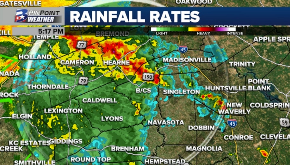 Just after 5pm, heavy rain was pivoting toward the north and eastern Brazos Valley.