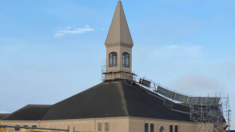 Some scaffolding outside Christ United Methodist Church fell during the overnight storms.