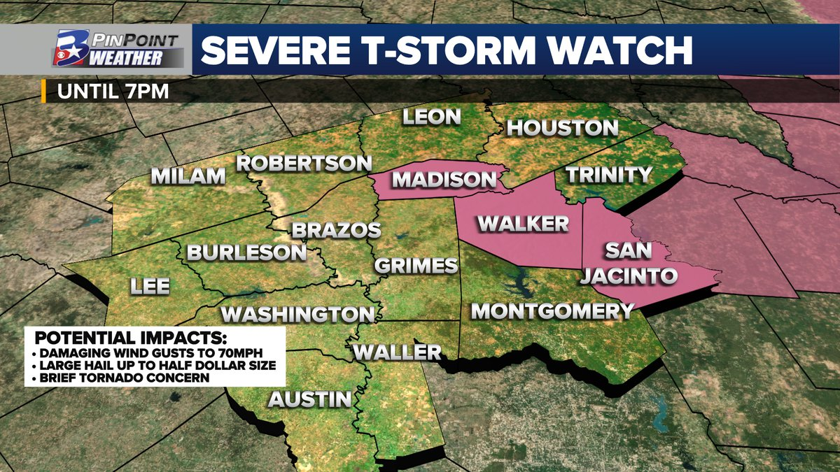 A Severe Thunderstorm Watch is in effect for Madison, Walker, and San Jacinto Counties until 7pm.
