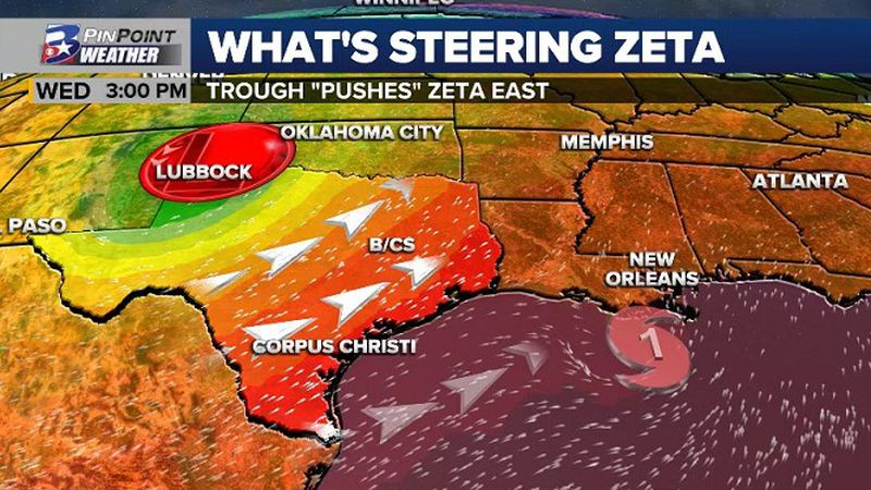 """Zeta will be """"pushed"""" eastward thanks to a strong upper level trough. This same trough will be..."""