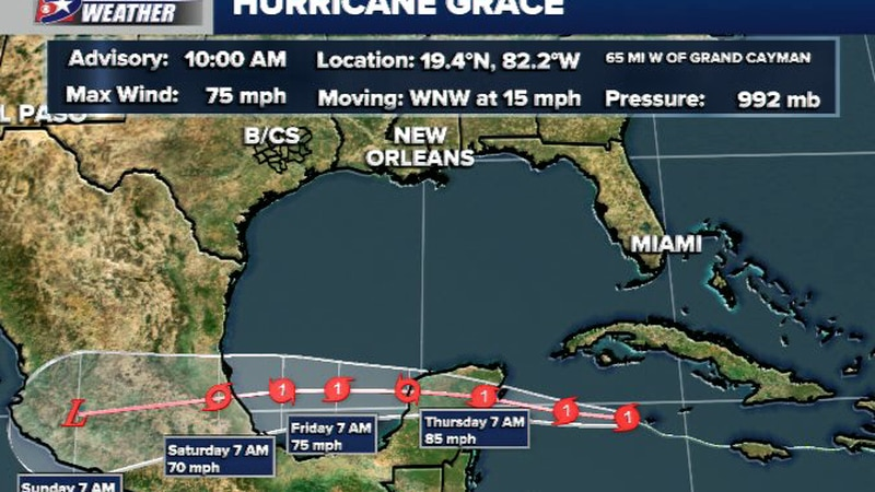 Grace has strengthened to a hurricane as it nears Mexico Wednesday.