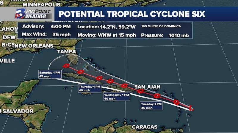 NHC begins issuing advisories for PTC Six