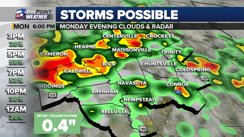 Strong to briefly severe thunderstorms are possible Monday evening, ahead of a rare, June cold...