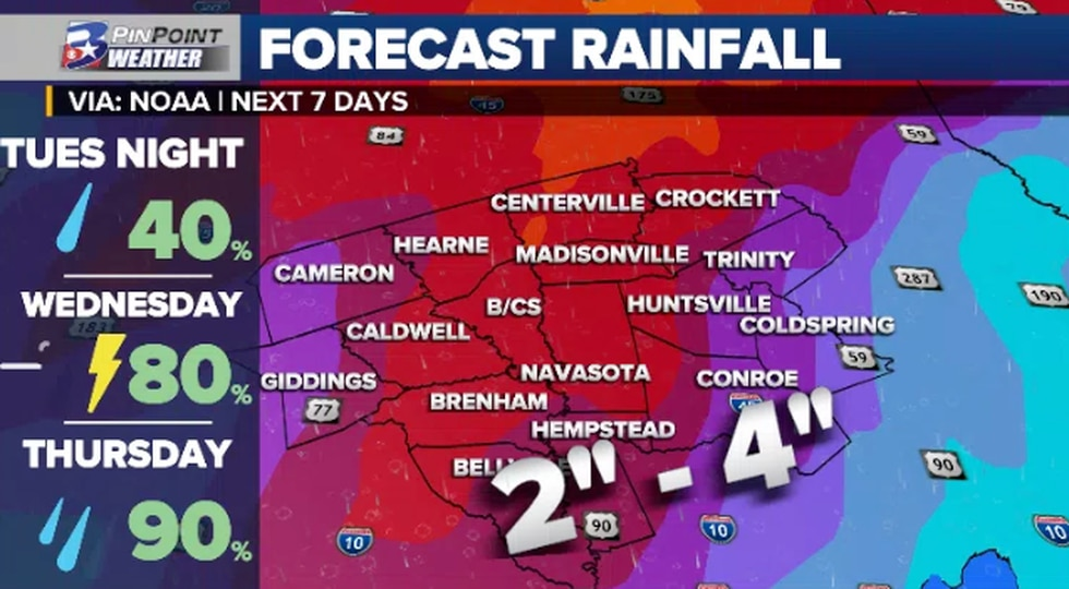 """A widespread rainfall event could lead to rainfall totals in the 2"""" - 4"""" range with localized..."""