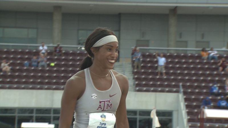 Texas A&M heptathlete Tyra Gittens all smiles after improving personal best five times during...