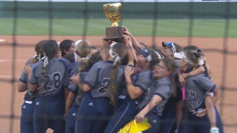 The Bryan softball team celebrates after beating Waco Midway 3-1 in the regional quarterfinals.