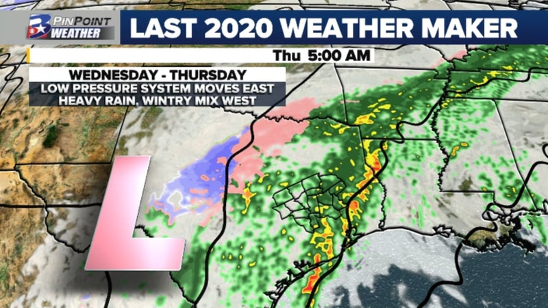 2020 is expected to end with a storm system crossing Texas