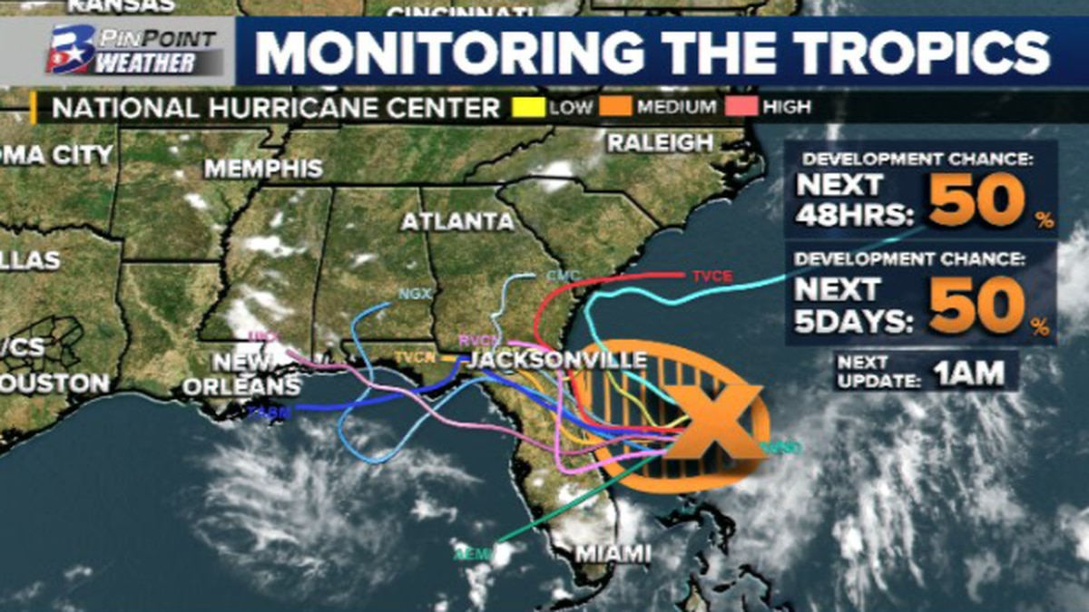 The National Hurricane Center is keeping tabs on a disturbance off of the Eastern Florida Coast...