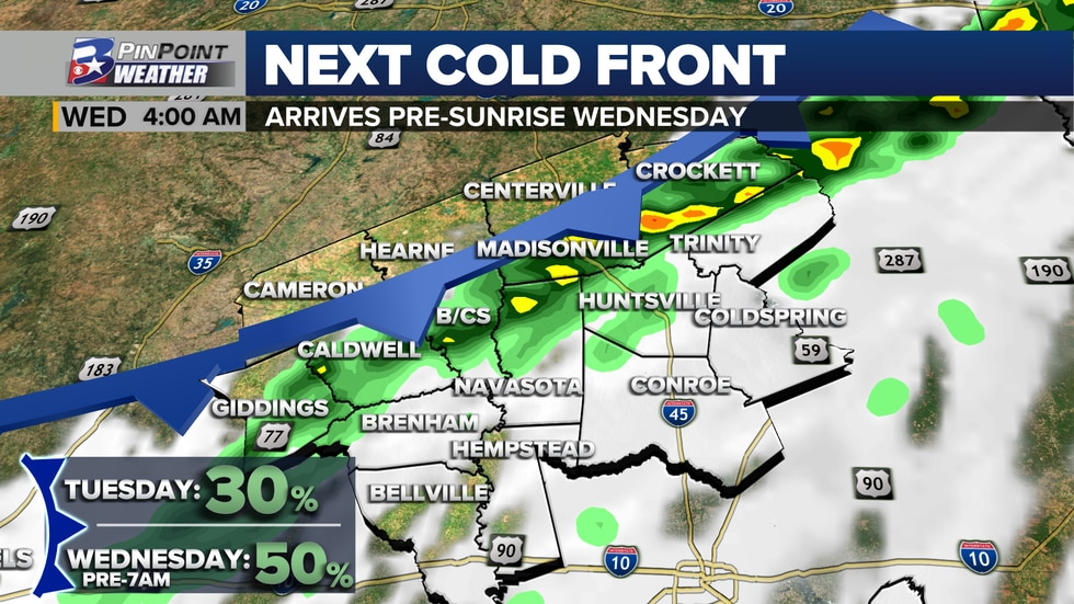 Cold front #2 arrives pre-sunrise Wednesday