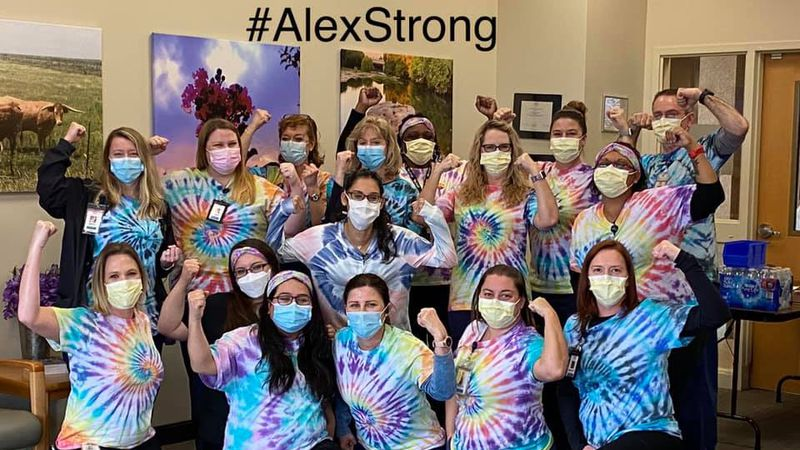 Community members showing support for 5th grade student Alex Sandoval