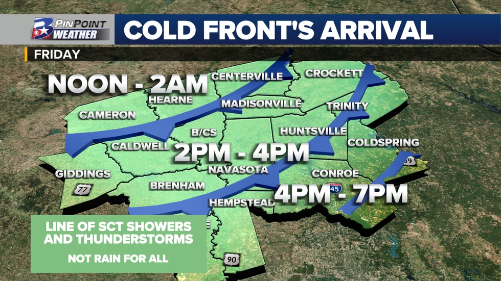 """Estimated arrival of weak """"cold"""" frontal boundary Friday."""
