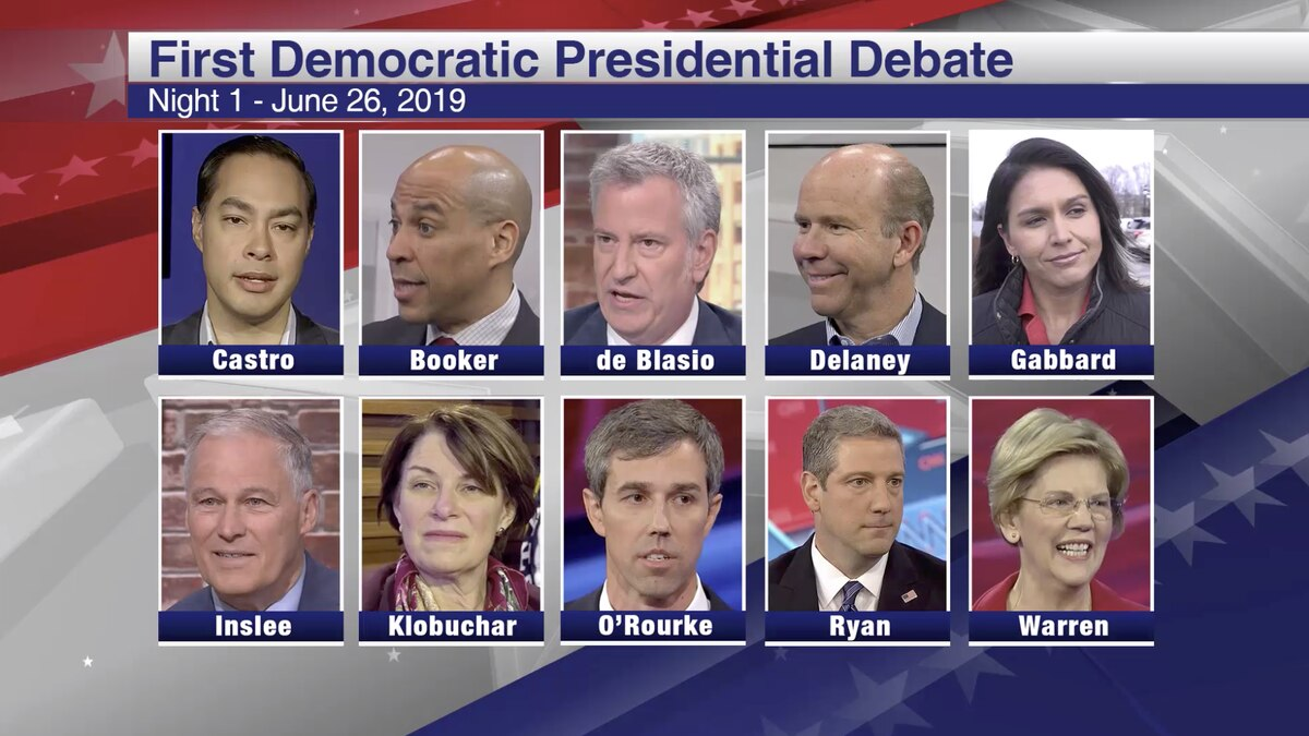 These candidates are debating in the first night of the first Democratic presidential debate. (Source: Gray DC/CNN)