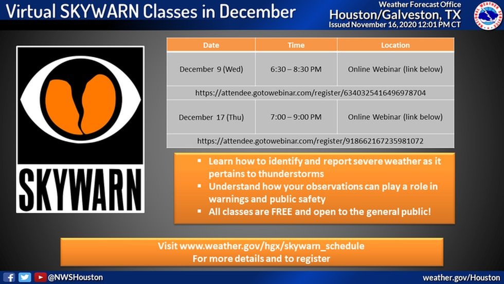 The Houston / Galveston National Weather Service will hold two virtual SKYWARN training session...