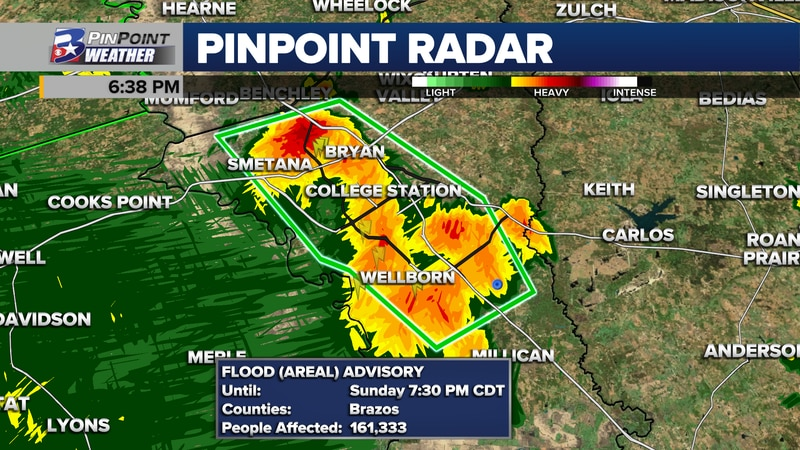 A Flood Advisory was issued for Brazos County & Bryan-College Station Sunday until 7:30pm