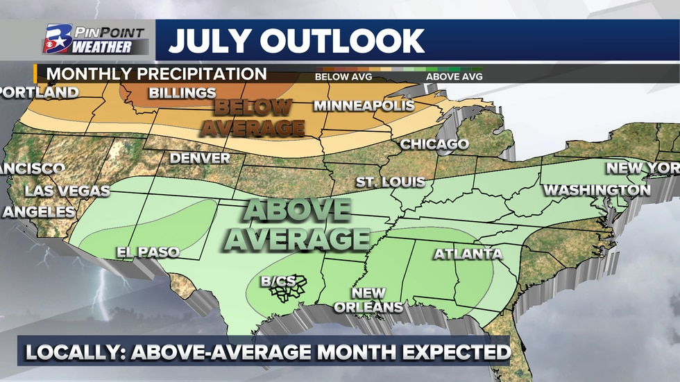 The Climate Prediction Center forecasts a 40% to 50% chance for above-average rainfall in the...