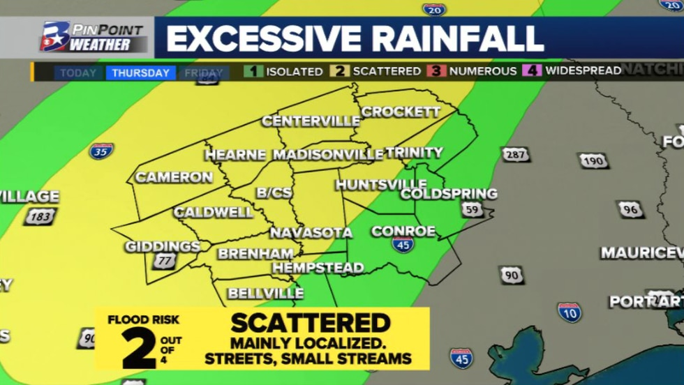 We'll keep eyes on the potential to find a few minor flooding issues in areas that pick up on...