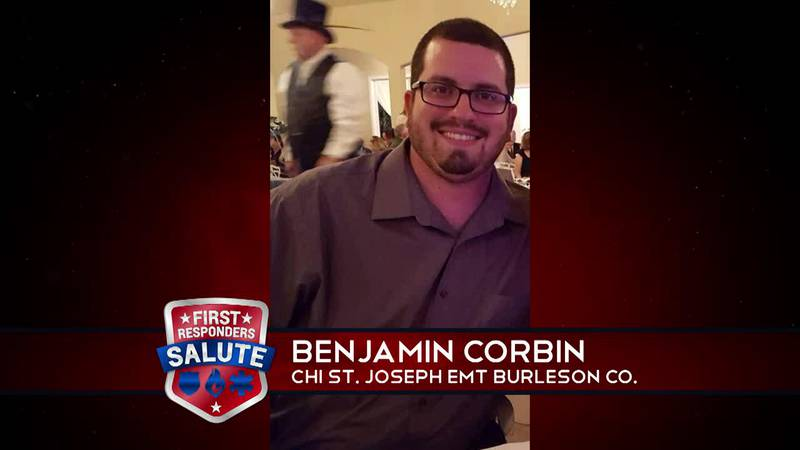 This week's First Responder Salute goes to Benjamin Corbin, a paramedic with C.H.I. St Joseph...